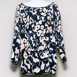 DVF Floral Navy Silk Tunic Shirt with Pockets